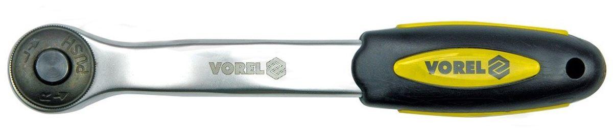 Трещотка изогнутая Vorel CrV, 3/8 72 зуба53572Трещотка имеет 72 зуба и изготовлена из хромванадиевой стали. Изогнутая ручка позволяет легко работать с утопленными болтами.