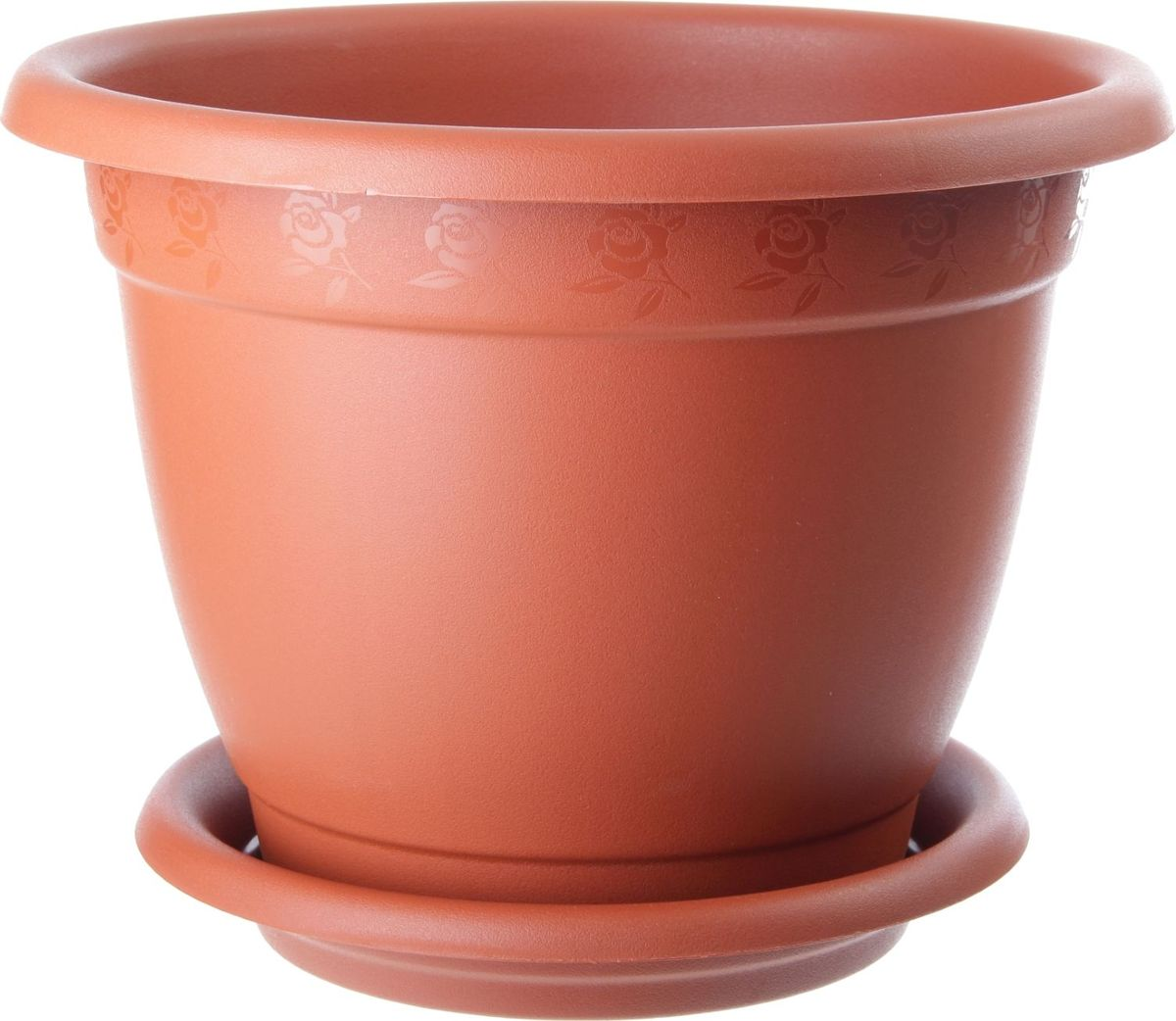 Горшок для цветов InGreen Борнео, с поддоном, цвет: терракотовый, диаметр 43 смING42043FТРЛюбой, даже самый современный и продуманный интерьер будет не завершенным без растений. Они не только очищают воздух и насыщают его кислородом, но и заметно украшают окружающее пространство. Такому полезному члену семьи просто необходимо красивое и функциональное кашпо, оригинальный горшок или необычная ваза! Мы предлагаем - Горшок для цветов d=43 см Борнео 22 л, с подставкой, цвет терракотовый! Оптимальный выбор материала - это пластмасса! Почему мы так считаем? Малый вес. С легкостью переносите горшки и кашпо с места на место, ставьте их на столики или полки, подвешивайте под потолок, не беспокоясь о нагрузке. Простота ухода. Пластиковые изделия не нуждаются в специальных условиях хранения. Их легко чистить достаточно просто сполоснуть теплой водой. Никаких царапин. Пластиковые кашпо не царапают и не загрязняют поверхности, на которых стоят. Пластик дольше хранит влагу, а значит растение реже нуждается в поливе. Пластмасса не пропускает воздух корневой системе растения не грозят резкие перепады температур. Огромный выбор форм, декора и расцветок вы без труда подберете что-то, что идеально впишется в уже существующий интерьер. Соблюдая нехитрые правила ухода, вы можете заметно продлить срок службы горшков, вазонов и кашпо из пластика: всегда учитывайте размер кроны и корневой системы растения (при разрастании большое растение способно повредить маленький горшок) берегите изделие от воздействия прямых солнечных лучей, чтобы кашпо и горшки не выцветали держите кашпо и горшки из пластика подальше от нагревающихся поверхностей. Создавайте прекрасные цветочные композиции, выращивайте рассаду или необычные растения, а низкие цены позволят вам не ограничивать себя в выборе.