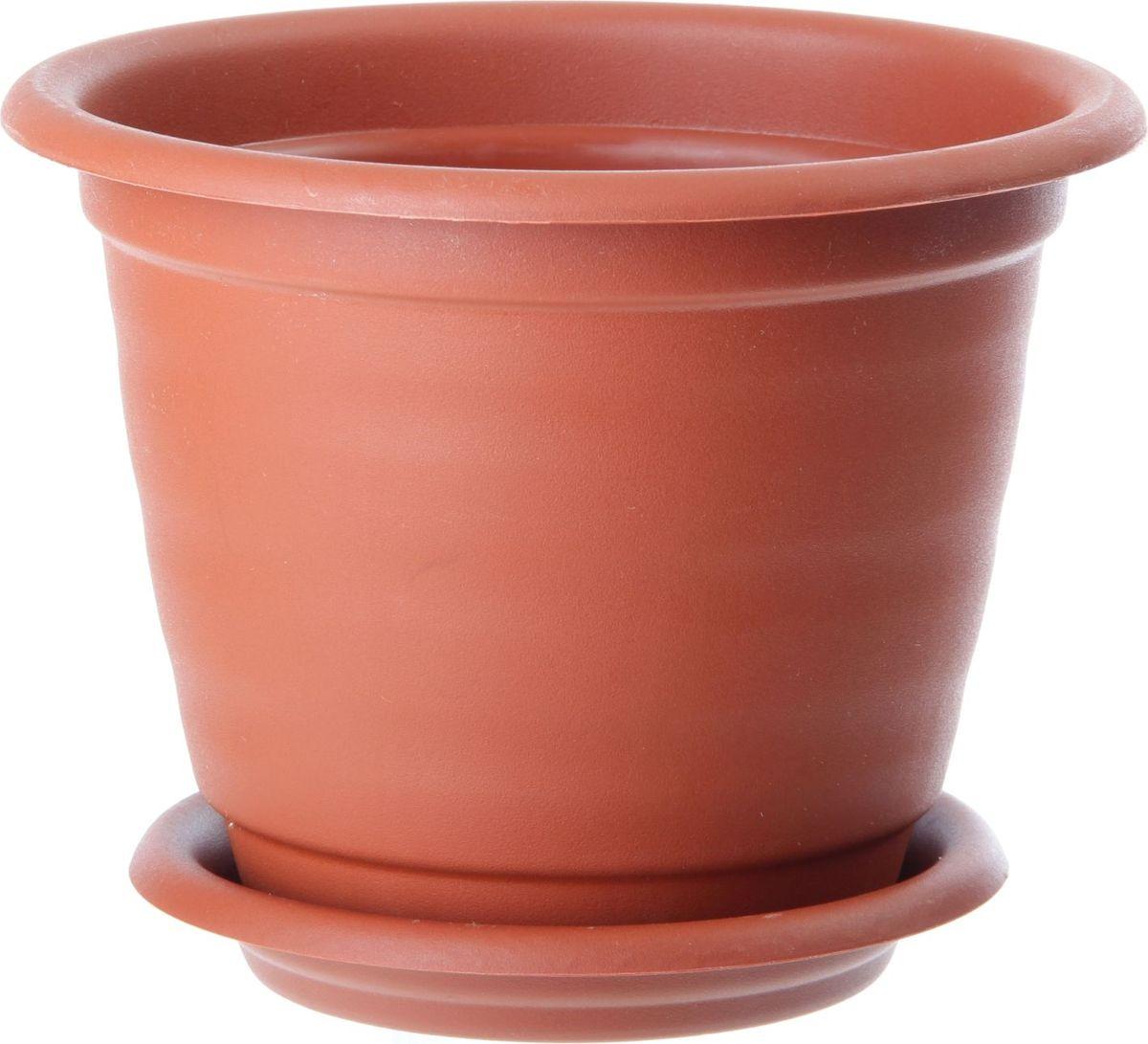 """Горшок для цветов InGreen """"Натура"""", с поддоном, цвет: терракотовый, диаметр 17 см"""