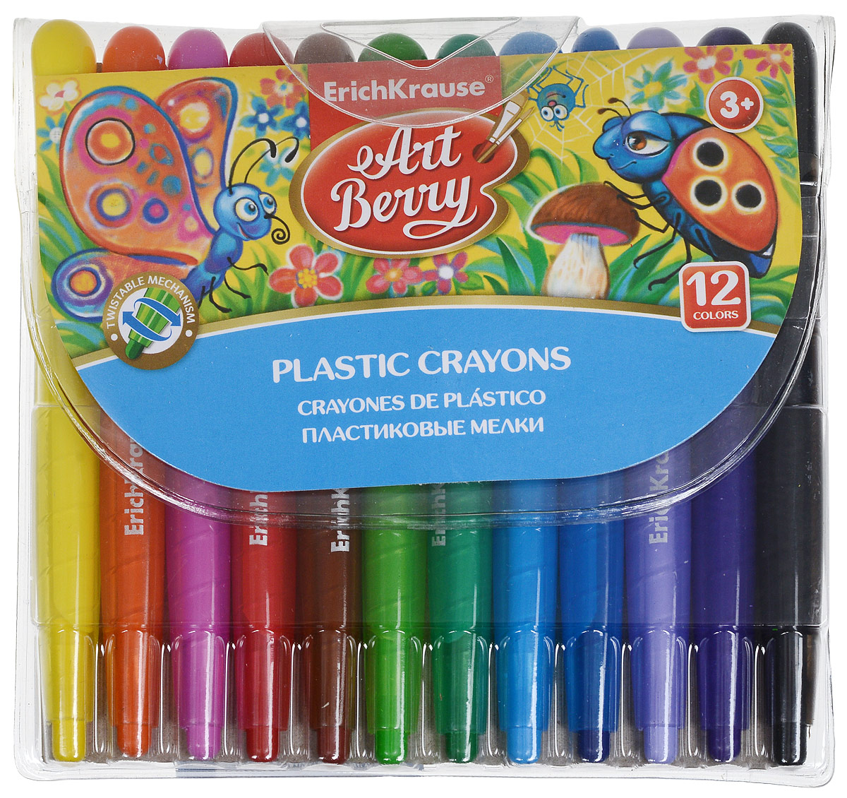 Erich Krause Мелки выкручивающиеся Art Berry 12 цветов -  Мелки и пастель