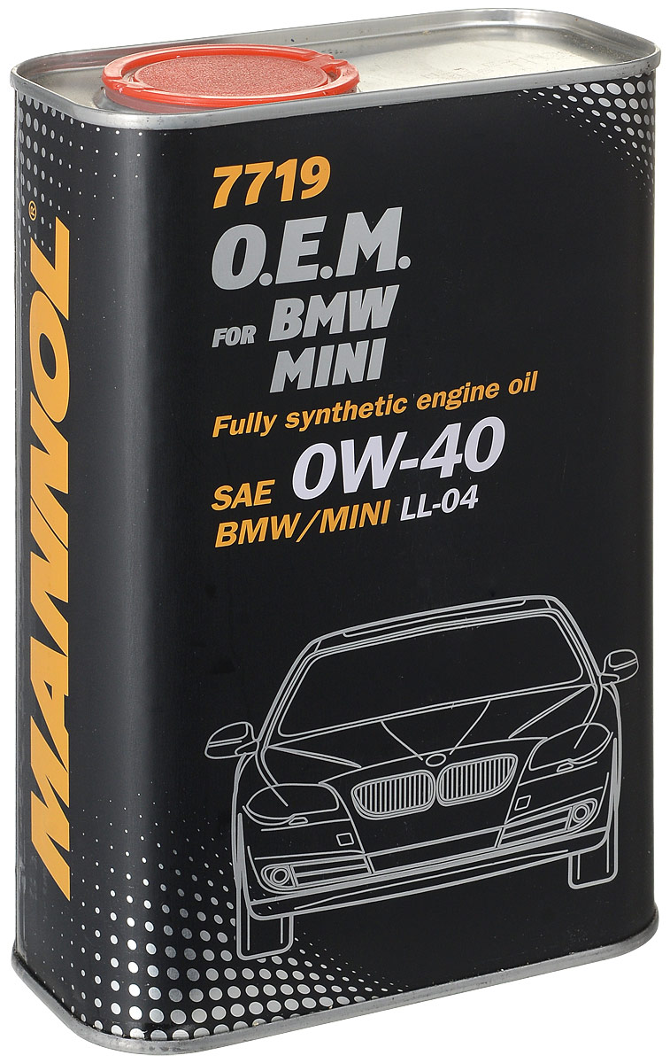 Моторное масло MANNOL 7719 O.E.M. BMW, Mini, 0W-40, синтетическое, 1 л4064Синтетическое моторное масло нового поколения, специально разработанное для использования в бензиновых и дизельных двигателяхавтомобилей BMW и MINI. Высокотехнологичный пакет присадок (low SAPS – низкое содержание серы, золы и фосфора) обеспечиваетоптимальную работу систем защиты окружающей среды, а также фильтров твердых частиц (DPF).Спецификации производителей автомобилейBMW Longlife-04 / BMW LL-04, MB Approval 229.51 / MB 229.51, MB Approval 229.31 / MB 229.31, PORSCHE A40, VW/AUDI 502 00, VW/AUDI 505 00,GM-LL-B-025, GM-LL-A-025, GM Dexos 2, FORD M2C937-A, Fiat 9.55535-S2
