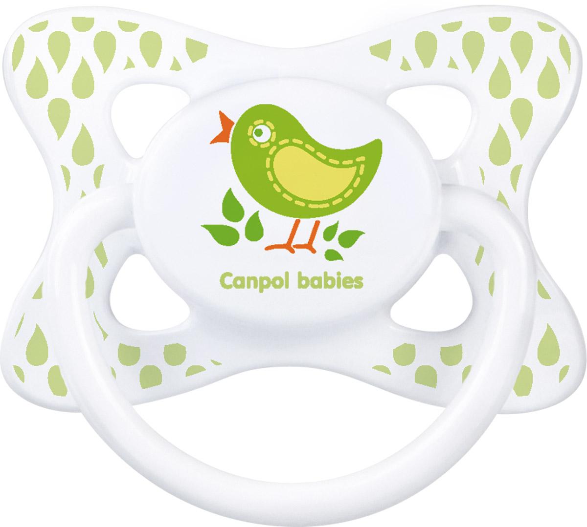 Canpol Babies Пустышка силиконовая симметричная Птичка от 6 до 18 месяцев