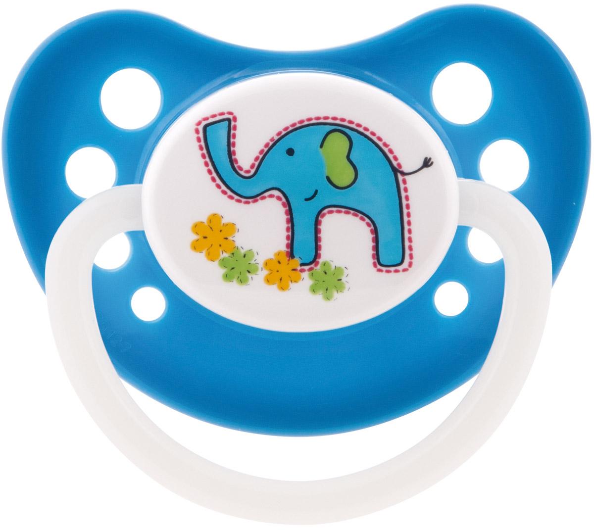 Canpol Babies Пустышка латексная ортодонтическая Zoo от 6 до 18 месяцев цвет синий