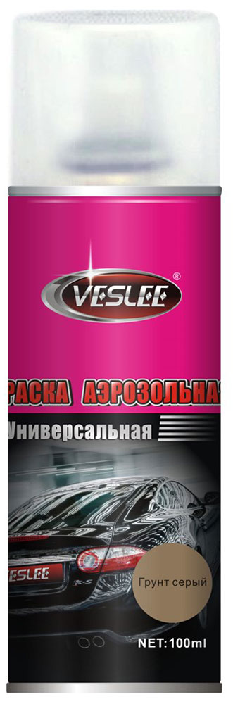 Грунт Veslee, аэрозоль, цвет: серый, 100 млVL-P2E GPГрунт Veslee предназначается для высококачественного окрашивания поверхностей, сделанных из дерева, металла и пластика. Идеальна для окрашивания автомобилей, мотоциклов, различного оборудования, приборов, мебели и прочего. Имеет широчайшую палитру цветов и форм. Такая краска не желтеет и не выцветает, то есть является атмосферостойкой. Акриловые краски могут быть использованы как для полного окрашивания, так и для подкрашивания. Прекрасно подходят не только для транспортных средств, но и для любого другого оборудования, такого как кухонное, например. Они могут успешно использованы для декорирования различных деталей интерьера и разных поверхностей не только в быту, но и в офисе или магазине.