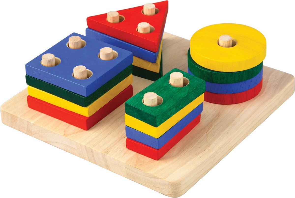 Plan Toys Сортер Доска с геометрическими фигурами plan toys сортер блок для сортировки фигур