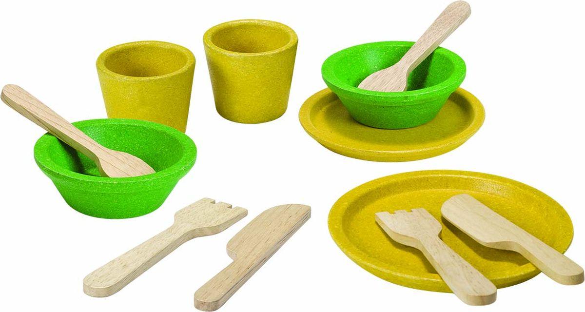 Plan Toys Игрушечный набор посуды 12 предметов каталка утка plan toys