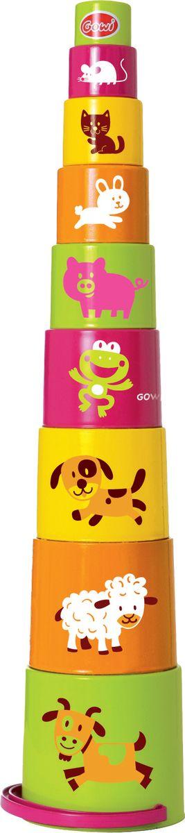 Gowi Набор игрушек для песочницы Ведерко-пирамидка Звери 9 шт игрушки для ванны tolo toys набор ведерок квадратные