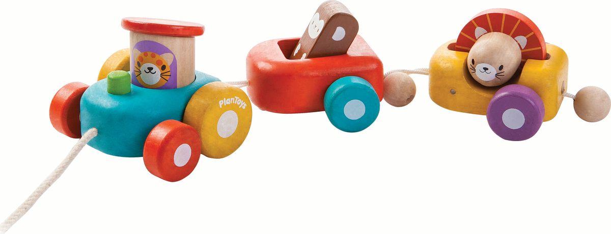 Plan Toys Каталка-паровозик Веселый двигатель каталки plan toys каталка змейка