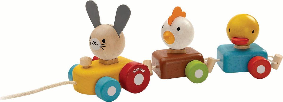 Plan Toys Сортер Поезд с животными каталки plan toys каталка змейка