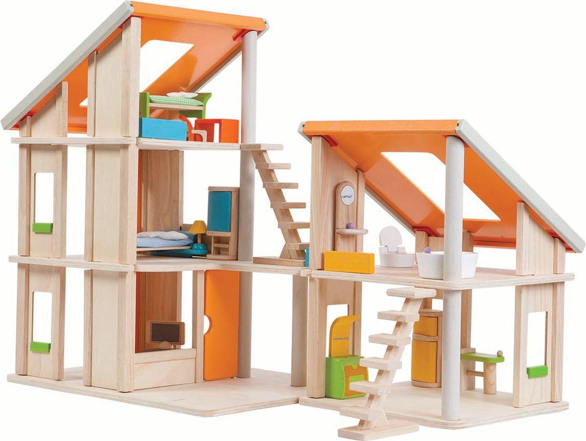 Plan Toys Дом для кукол Шале с мебелью 7141 конструкторы happykon кукольный домик хэппидом коттедж с мебелью для кукол из дерева
