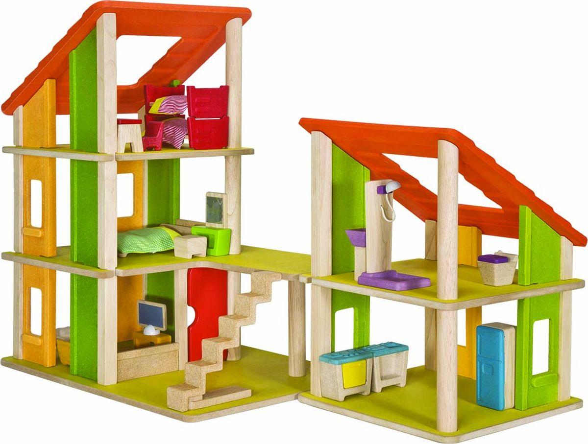 Plan Toys Кукольный домик Шале с мебелью 7602 конструкторы happykon кукольный домик хэппидом коттедж с мебелью для кукол из дерева