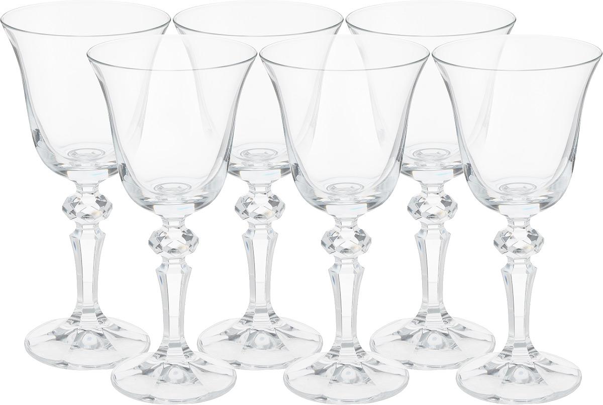 """Набор Crystalite Bohemia """"Laura"""" состоит из шести бокалов для вина, выполненных из прочного натрий-кальций-силикатного стекла. Изделия оснащены ножками с изысканным рельефом. Бокалы излучают приятный блеск и издают мелодичный звон. Предназначены для подачи белого и красного вина.  Бокалы сочетают в себе элегантный дизайн и функциональность. Благодаря такому набору пить напитки будет еще вкуснее. Набор бокалов Bohemia Crystal """"Laura"""" прекрасно оформит праздничный стол и создаст приятную атмосферу за романтическим ужином. Такой набор также станет хорошим подарком к любому случаю.  Не использовать в посудомоечной машине и микроволновой печи.  Диаметр бокала (по верхнему краю): 8,5 см.  Высота бокала: 17,5 см.  Диаметр основания: 6,5 см."""