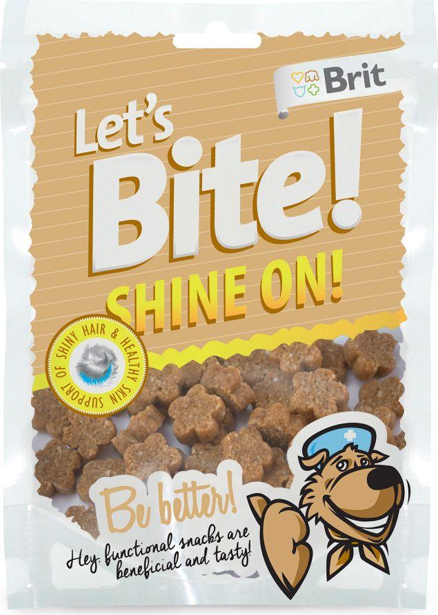 Лакомство для собак Brit Lets Bite! Shine On. Сияние, 150 г513802Лакомство Brit Lets Bite Сияние предназначено для собак.Блестящая шерсть и здоровая кожа – функциональное лакомство для собак. Оно вкусное и полезное.Состав: рис, лосось, жидкий крахмал, коллаген, рыбий жир лососевых рыб, натуральные ароматизаторы, сушеные бархатцы (15 г/кг), сушеный тысячелистник (5 г/кг).Аналитический состав: сырой протеин 16%, сырой жир 7%, сырая зола 3,5%, сырая клетчатка 2%, влага 17%.Питательные добавки на 1 кг: витамин C (3a312) 500 мг/кг.Вес: 150 г.