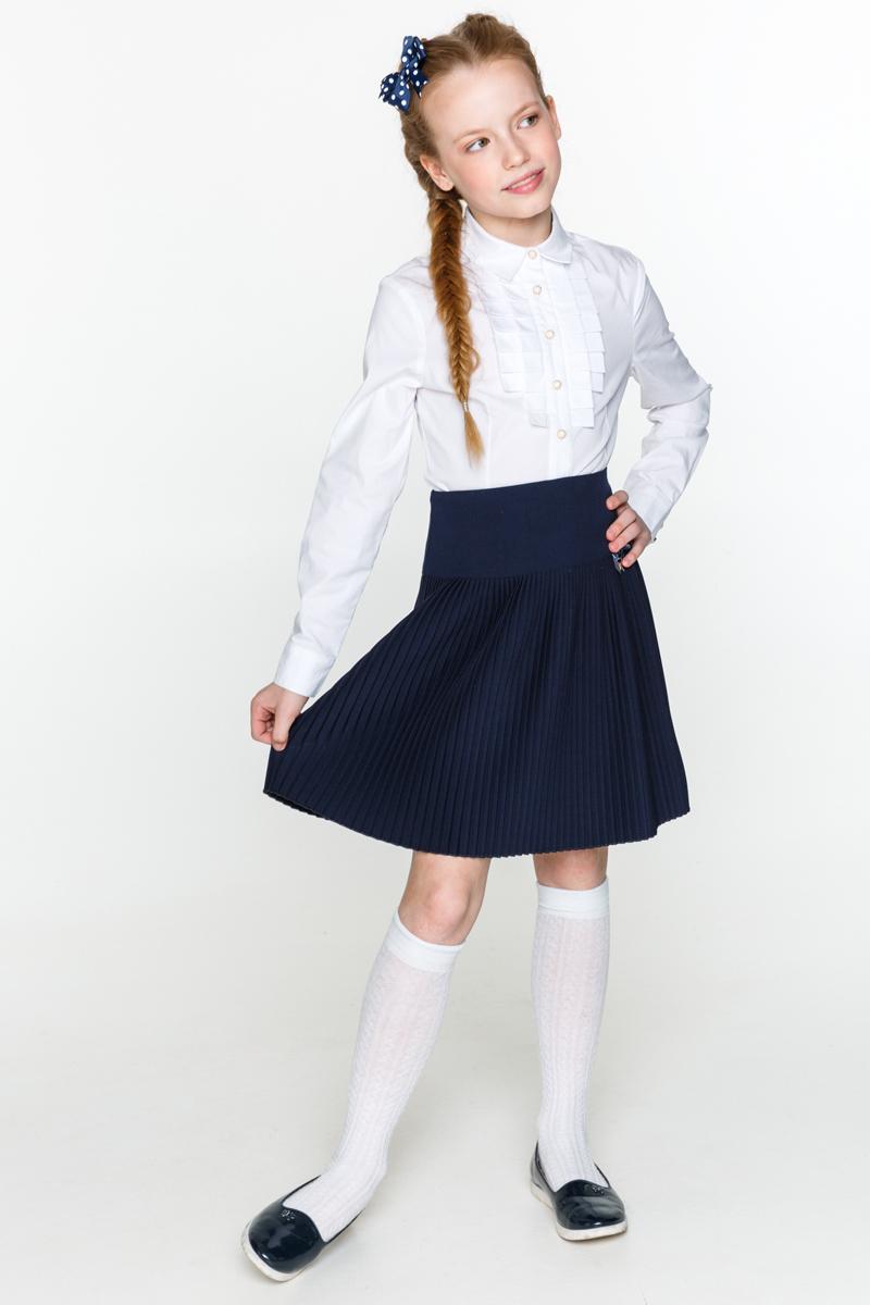 Блузка для девочки Acoola Kappa, цвет: белый. 20240260020_200. Размер 12220240260020_200Классическая блузка для девочки Acoola Kappa выполнена из хлопкового поплина, декорированная складками вдоль планки. Модель приталенного силуэта с классическим отложным воротником, длинными рукавами с манжетами на пуговицах и застежкой на пуговицы спереди.