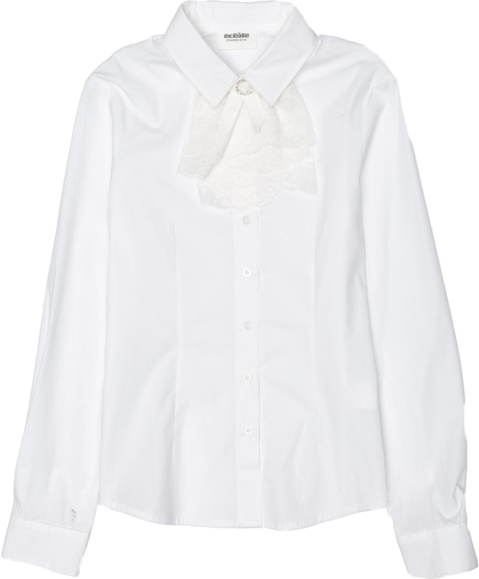 Блузка для девочки Acoola Grey, цвет: белый. 20240260021_200. Размер 14620240260021_200Классическая блузка для девочки Acoola Grey выполнена из хлопкового поплина, декорированная съемным жабо из кружева. Модель приталенного силуэта с классическим отложным воротником, длинными рукавами с манжетами на пуговицах и застежкой на пуговицы спереди.