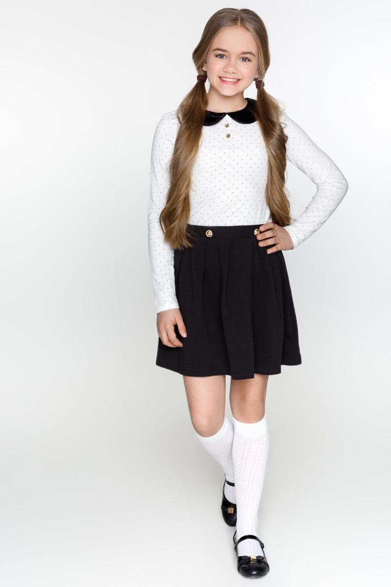 Блузка для девочки Acoola Lavigne, цвет: молочный. 20240100003_300. Размер 11620240100003_300Блузка для девочки Acoola Lavigne выполнена из эластичного трикотажа в мелкий горошек, с контрастным круглым воротником из бархата и декоративными пуговицами спереди. Модель с круглым вырезом горловины, длинными рукавами и застежкой на пуговицу сзади.