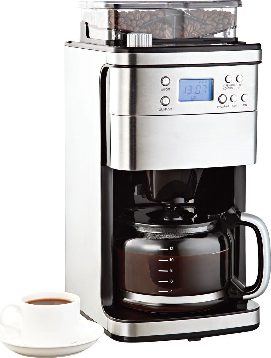 Gemlux GL-CM-55 кофеваркаGL-CM-55Кофеварочная машина Gemlux GL-CM-55капельная, электронное управление с ЖК-дисплеем, емкость 1,8 л (12 чашек), встроенная кофемолка с бункером на 240 г, регулируемая крепость кофе, подогрев готового напитка, задержка старта, нержавеющая сталь