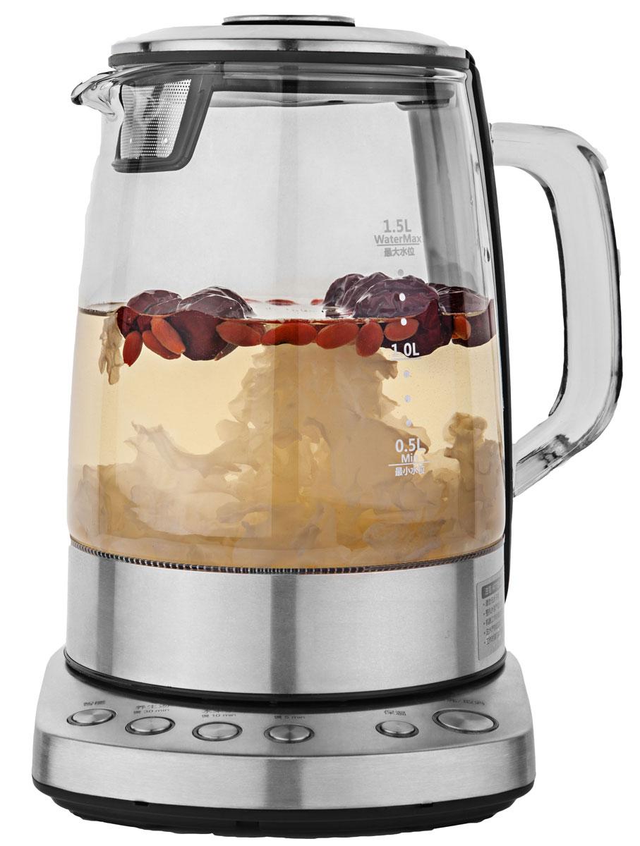 Gemlux GL-EK-501G чайник электрическийGL-EK-501GЭлектрический чайник Gemlux GL-EK-501G объемом 1,5 л идеально подходит для семьи из трех-четырех человек. Колба чайника изготовлена из экологичного и безопасного для здоровья прозрачного стекла, основание - из нержавеющей стали.Мощный закрытый ТЭН обеспечивает быстрое закипание воды, легко очищается от накипи и имеет длительный срок службы. Электрочайник оснащен терморегулятором, который позволяет максимально раскрывать вкус и аромат различных сортов чая, имеет функцию поддержания температуры в течение 30 минут, а также функцию автоотключения при закипании воды и защиты от сухого включения.Температура нагрева: 70-100°С.Вращение на платформе 360°.Электронное управление.