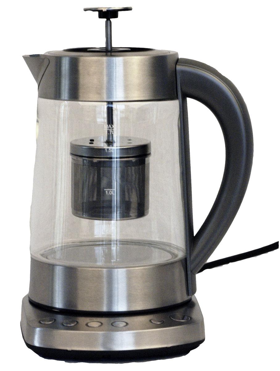 Gemlux GL-EKTM-502G чайник электрическийGL-EKTM-502GЭлектрический чайник Gemlux GL-EKTM-502G объемом 1,7 л идеально подходит для семьи из трех-четырех человек. Колба чайника изготовлена из экологичного и безопасного для здоровья прозрачного стекла, основание - из нержавеющей стали, термоизолированная ручка - из черного пластика.Мощный закрытый ТЭН обеспечивает быстрое закипание воды, легко очищается от накипи и имеет длительный срок службы.Электрочайник оснащен терморегулятором, который позволяет максимально раскрывать вкус и аромат различных сортов чая, и заварочным узлом, благодаря которому напиток можно заваривать непосредственно в колбе.Устройство имеет функцию поддержания температуры в течение 30 минут, а также функцию автоотключения при закипании воды и защиты от сухого включения.Температура нагрева: 70-100°С.Вращение на платформе 360°.Электронное управление.