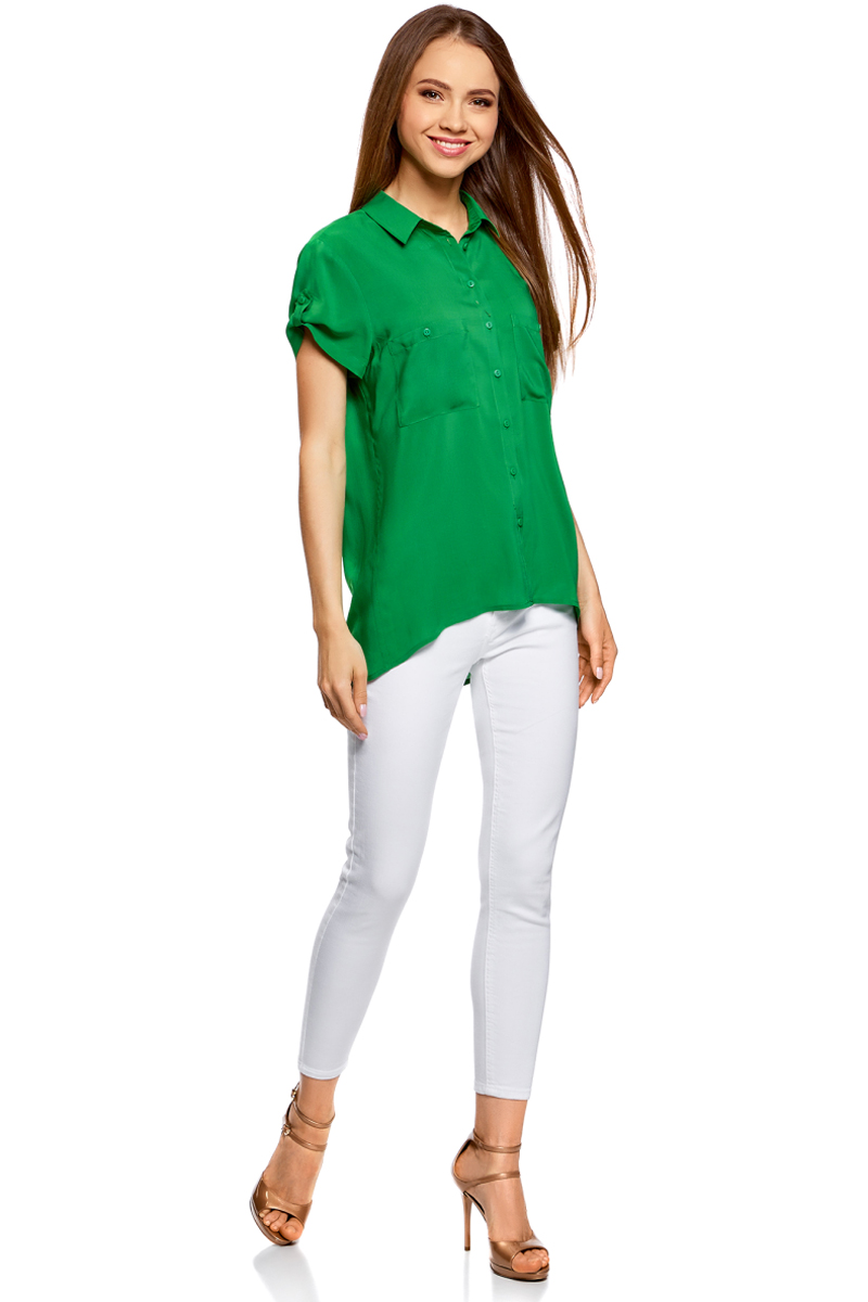 Блузка женская oodji Ultra, цвет: травяной. 11400391-3B/24681/6B00N. Размер 42-170 (48-170) блузка женская oodji ultra цвет белый 11400444 2 42083 1000n размер 42 170 48 170