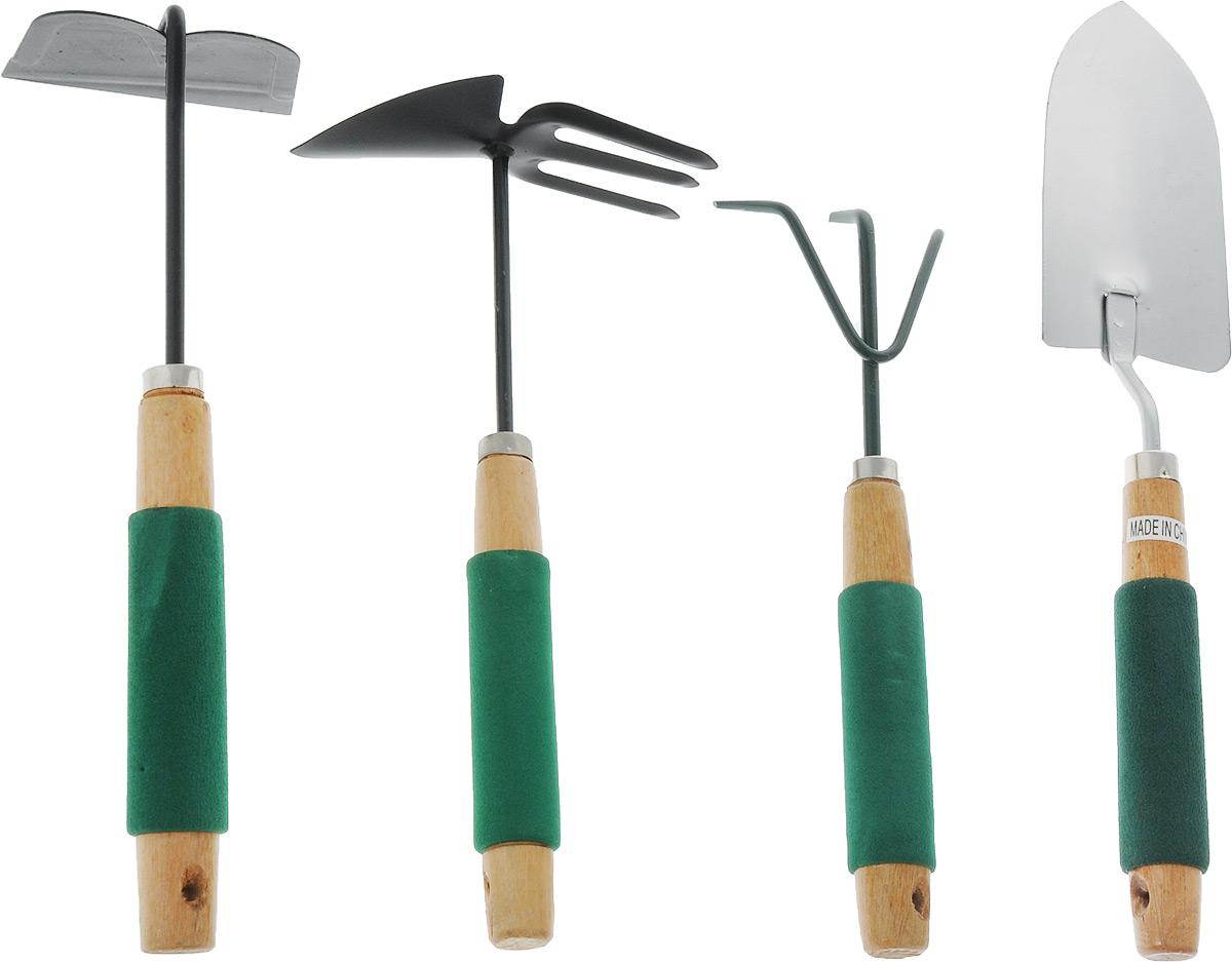 Набор садовых инструментов Гарден Крафт, 4 предмета7040192Набор садовых инструментов Гарден Крафт включаетмотыгу-рыхлитель, посадочный совок, тяпку и рыхлитель.Рабочая часть инструментов выполнена из металла соспециальным антикоррозийным покрытием. Рукояткиизготовлены из дерева. Специальная мягкая накладкаобеспечивает максимальный комфорт во время работы игарантирует надежный хват. Также на рукоятках имеютсяспециальные отверстия для подвешивания.Длина мотыги-рыхлителя: 31 см.Размер рабочей поверхности мотыги-рыхлителя: 15,5 х 6 см. Длина рыхлителя: 30 см.Ширина рабочей поверхности рыхлителя: 10 см.Длина посадочного совка: 38,5 см.Размер рабочей поверхности совка: 8 х 16 см.Длина тяпки: 31 см.Размер рабочей поверхности тяпки: 10 х 8 см.