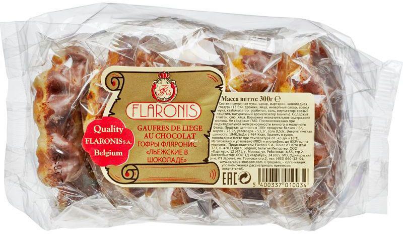 Flaronis Льежские гофры в шоколаде, 300 г3.1.34Бельгийские гофры - воздушные дрожжевые вафли, покрытые молочным шоколадом. Отличаются нежным вкусом и насыщенным ароматом.