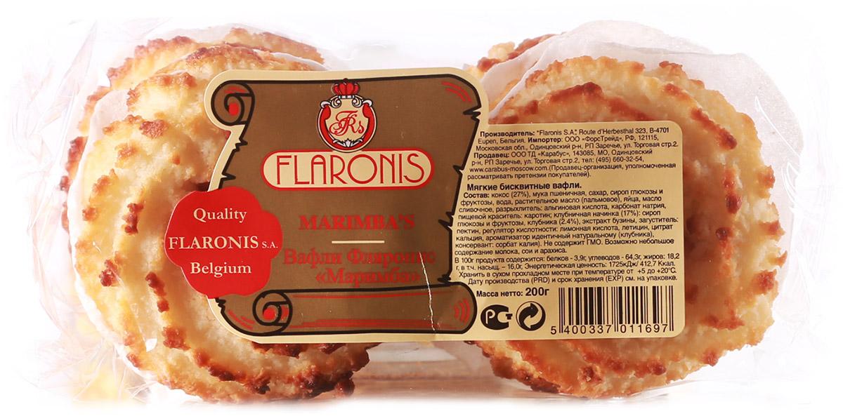 Flaronis Маримба вафли бисквитные, 200 г3.1.16Очень вкусные мягкие вафли, их можно подавать с различными добавками или использовать вафли в качестве коржей для десертных тортиков.