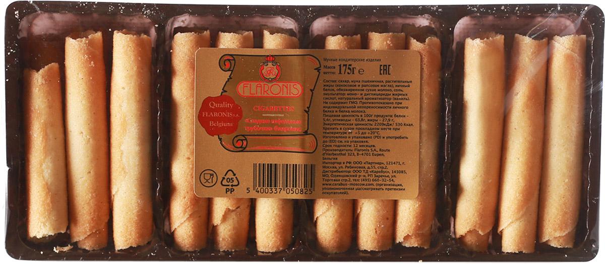 Flaronis сладкие вафельные трубочки, 175 г тореро вафельные коржи для торта темные 120 г