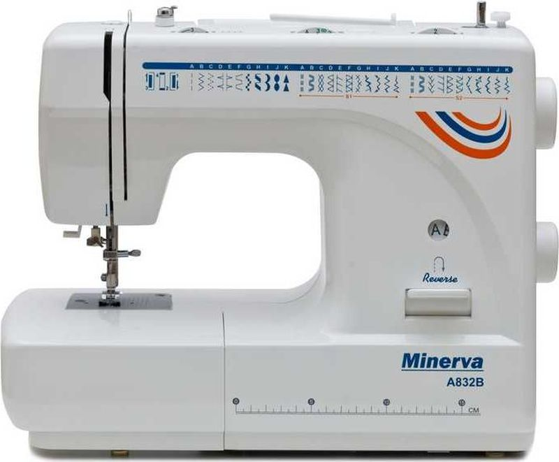 Minerva A832B швейная машинаM-A832BОтличительные особенности Минерва A832B:Вертикальное челночное устройствоПлавная регулировка длины стежка от 0 до 4 ммМаксимальная ширина строчек 5 ммАвтоматический нитевдевательТехнические характеристики:Выполняет 32 вида строчек: рабочие операции, эластичные строчки для трикотажных тканей, декоративная и фестонная вышивки, оверлочные строчки, потайная подшивка низа.