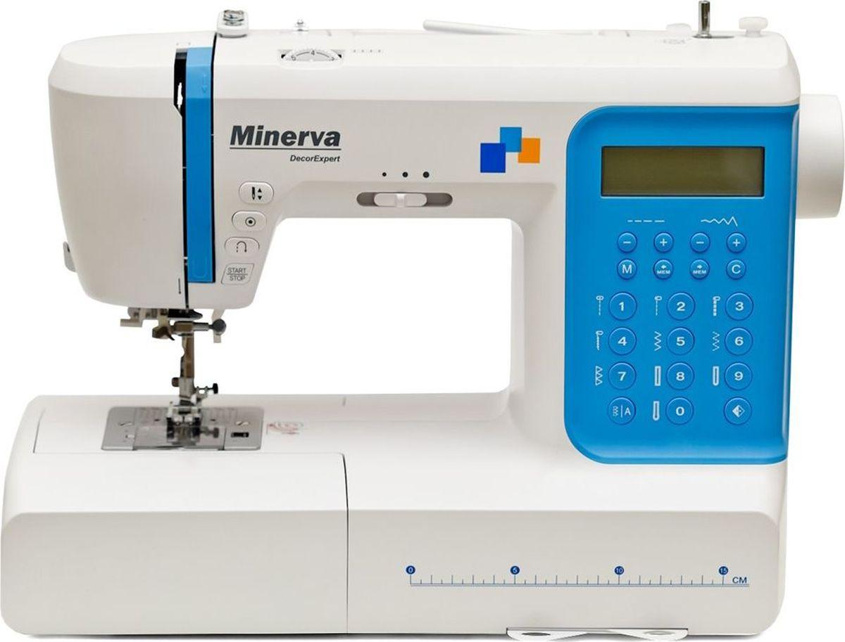 Minerva DecorExpert швейная машинаM-DEX197MinervaDecorExpert - профессиональная копьютеризированная швейная машина, новая модель от бренда Minerva.В наборе Minerva DecorExpert есть 197 видов строчек, среди которых декоративные строчки (36), строчки для квилтинга (16), рабочие строчки (15), сатиновые строчки (11),крестовые строчки (9), оверлочные строчки (4). Выполняет 7 видов петельных шва и глазковую петлю в автоматическом режиме. 97 символов алфавита, среди которых буквы, цифры и символы препинания позволят выполнять разнообразные монограммы, а память швейной машины позволит сохранить их в памяти для дальнейшего использования. Современный горизонтальный челнок сделает работу малошумной и позволит быстро и просто заменить шпульку. Автоматическая заправка нити и боковой нож позволят быстро заправить и обрезать нити, не перенапрягая зрение. Автозакрепление нити, кнопка позицинарования иглы, простая настройка на выполнение всех необходимых функций делают данную швейную машину одной из самых простых и одновременно многофункциональных моделей. А удобный LCD дисплей поможет проследить за настройками выполняемых швейных операций.Присутствие съемной платформы делают обработку узких круговых изделий невероятно простой и быстрой. Плавная регуляция длины и ширины стежка позволит настроить нужную операцию с максимальной точностью. Все основные механизмы швейной машины Minerva DecorExpert изготовлены из высококачественных прочных материалов, по этому машина может работать с тканями различной плотности и толщины.