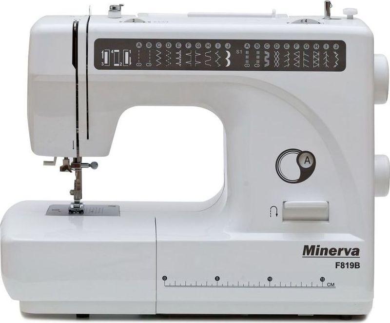 Minerva F819B швейная машинаM-F819BMinerva F819B - это машина сочетающая в себе простоту работы и многофункциональность за приемлемую цену. Машина снабжена 19 видами строчек и петлёй полуавтоматом. Среди строчек имеются эластичные строчки для трикотажа, оверлочные, потайные подшивочные, а также фестонные и декоративные строчки для вышивки. Все строчки и операции переключаются в удобном режиме, не усложняя работу. Также машина предполагает работу с двойной иглой, что поможет Вам сделать красивые и ровные отделочные строчки на вашем изделии.Приятным моментом будет для вас наличие автоматической заправки нити и нитеобрезателя. Это ускорит вашу работу и уберёт сложности с заменой нитки.Также машина имеет подсветку рабочей поверхности, что сохранит ваше зрение и улучшит качество работы.Характеристики:Нитеобрезатель: ЕстьСкорость шитья: 800 об/мин.Возможности:Выполняет 19 видов строчек:рабочие операции, эластичные строчки для трикотажных тканей, декоративная и фестонная вышивки, оверлочные строчки, потайная подшивка низа.Вертикальное челночное устройство.Плавная регулировка длины стежка от 0 до 4 мм.Плавная регулировка ширины строчек от 0 до 5 мм.Подъем лапки: 7 ммРаботает с различными видами тканей.Автоматическое переключение на холостой ход при намотке на шпульку.Быстрая замена лапок.Реверс.Удобный выбор строчек и операции.Работа двойной иглой.Рукавная консоль.Подсветка рабочей поверхности (лампа накаливания 15 Вт).