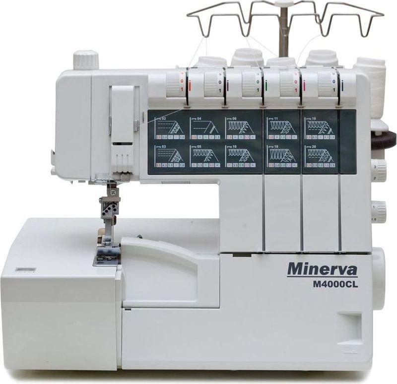Minerva M4000CL коверлокM-M4000CLMinerva M4000CL - комбинированный коверлок с плоскошовной машиной. Он поможет вам реализовать неограниченный творческий потенциал и воплотить это в готовом изделии. Доступное и понятное управления разработано с учетом интуитивного человеческого восприятия.Высокое качество строчки будет по достоинству оценено профессионалами шитья. 100% гарантия качества машины и ее работы вселяют чувство уверенности, что непременно сказывается на общем уровне качества отшиваемого изделия. Вы будете приятно удивлены качеством и простотой работы на этом коверлоке.Технические характеристики:20 операцийДлина стежка от 0,5 до 4 ммШирина шва от 3 до 9 ммСкорость работы: 1100 об/минПониженная вибрацияОтстегиваемая лапкаЦветовая система заправки нитейУвеличенная поверхность шитья до 98 ммДифференциальная подача от 0,5 до 2 Рычаг снятия натяжения нитей5-ти уровневая регулировка давления лапкиАвтоматическое изменение положения верхнего петлителяЦепная строчкаСистема освобождения цепного петлителя для легкого вдевания нитиОтдельно вынесенная регулировка и заправка нижнего петлителя цепного стежкаПлоский шов с 3 игламиАвтоматическая заправка нижнего и цепного петлителяВстроенный узкий ролевой шов