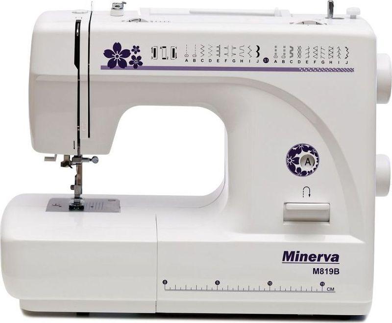 Minerva M819B швейная машинаM-M819BMinerva M819В - это машина, сочетающая в себе простоту работы и многофункциональность за приемлемую цену. Машина снабжена 19 видами строчек и петлёй автоматом. Среди строчек имеются эластичные строчки для трикотажа, оверлочные, потайные подшивочные, а также фестонные и декоративные строчки для вышивки. Все строчки и операции переключаются в удобном режиме, не усложняя работу. Также машина предполагает работу с двойной иглой, что поможет вам сделать красивые и ровные отделочные строчки на вашем изделии.Приятным моментом будет для вас наличие автоматической заправки нити и нитеобрезателя. Это ускорит вашу работу и уберёт сложности с заменой нитки.Также машина имеет подсветку рабочей поверхности, что сохранит ваше зрение и улучшит качество работы.Характеристики:Нитеобрезатель: Есть.Скорость шитья: 800 об/мин.Мощность: 85 Вт.Возможности:Выполняет 19 видов строчек:рабочие операции, эластичные строчки для трикотажных тканей, декоративная и фестонная вышивки, оверлочные строчки, потайная подшивка низа. Вертикальное челночное устройство.Плавная регулировка длины стежка от 0 до 4 мм.Плавная регулировка ширины строчек от 0 до 5 мм.Двойной фиксированный подъем лапки - 6 мм.Работает с различными видами тканей.Автоматическое переключение на холостой ход при намотке на шпульку.Быстрая замена лапок.Реверс.Удобный выбор строчек и операции.Работа двойной иглой.Рукавная консоль.Подсветка рабочей поверхности (лампа накаливания 15 Вт).
