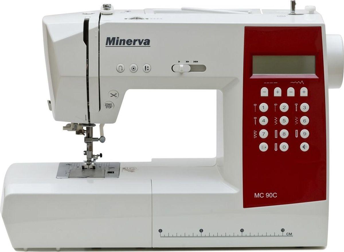 Minerva MC 90C швейная машинаM-MC90СКомпьютеризированная швейная машинка Minerva MC 90C станет вашимнезаменимым помощником. Машина выполняет несколько видов петель и 90видов строчек (рабочие операции, эластичные строчки для трикотажныхтканей, декоративные и оверлочные строчки, строчки для квилтинга ифестонной вышивки, штопка, потайная подшивка низа и другие). Данная модель оснащена всеми необходимыми функциями и устройствами,которые сделают процесс шитья быстрым и удобным. Машинка имеетудобный LCD дисплей с помощью которого вы сможете наглядно видеть ибыстро менять настройки машины. Также присутствует функцияавтоматической заправки нити, автоматической обрезки нити,автоматического закрепления строчки, быстрой смены лапки, кнопкапозиционирования иглы и многое другое. Характеристики: Модель: Minerva MC 90CКласс: компьютернаяПодходит для: профессионаловПетля: автоматЧелнок: горизонтальныйНитеобрезчик: естьСкорость шитья: 810 об/мин.Длина стежка: 5ммШирина стежка: 7ммПодъем лапки – до 12 ммМощность: 70 ВтВозможности:90 видов строчек: декоративная, для подшивания потайным швом, зигзаг,краеобметочная (оверлочная), прямая, усиленная прямая, усиленный зигзаг,эластичная для подшивания потайным швомВозможность шитья двойной иглойНитеобрезчик на корпусе машинкиАвтоматическая намотка нитки на шпулькуРегулировка нажатия лапки на тканьСистема быстросъемных лапокСъемная рукавная платформаРабота двойной иглойЛапки: Лапка универсальная (на машине)Лапка для вшивания молнииЛапка для потайного шваЛапка для автоматического выметывания петлиЛапка для пришивания пуговицы Обметочная лапкаДисплей: естьПитание от сети: естьКорпус: пластик