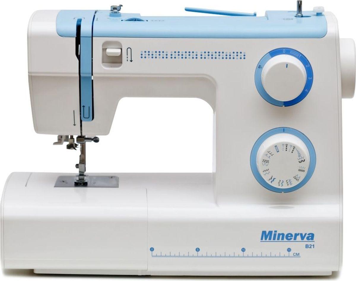 Minerva B21 швейная машинаM-МB21Minerva B21 подойдет как новичкам, так и опытным мастерицам. Онаоснащена вертикальным челночным устройством. Среди арсенала ееопераций все самые необходимые строчки – рабочие, эластичные,подшивочные и петля-автомат. Для регулировок используются два диска.Также вы можете осуществлять шитье двойной иглой. В классическом наборе машины – подсветка рабочей зоны, пенал дляинструментов и съемная рукавная платформа. Отличным дополнением кфункционалу машины станет установленный на этой моделиавтоматический заправщик нити. Он поможет вам без труда заправить нитьв иглу. Характеристики Класс: МеханическаяПодходит: для начинающихПетля: АвтоматЧелнок: ВертикальныйНитеобрезчик: ЕстьСкорость шитья: 800 об/мин.Длина стежка: 0 до 4ммШирина стежка: 5ммПодъем лапки: 6 ммМощность : 105 Вт ВозможностиВыполняет 21 швейную операцию:- рабочие строчки- трикотажные строчки- потайной шов- отделочные строчкиУдобный выбор операцийПетля-автоматПлавная регулировка строчекРукав-консольАвтоматический нитевдевательРабота двойной иглойЛапки:Стандартная лапкамЛапка для выметывания петлиЛапка для вшивания молнииЛапка для пришивания пуговицПриспособление для выстегиванияДисплей: НетПитание от сети: ЕстьКорпус: Пластик