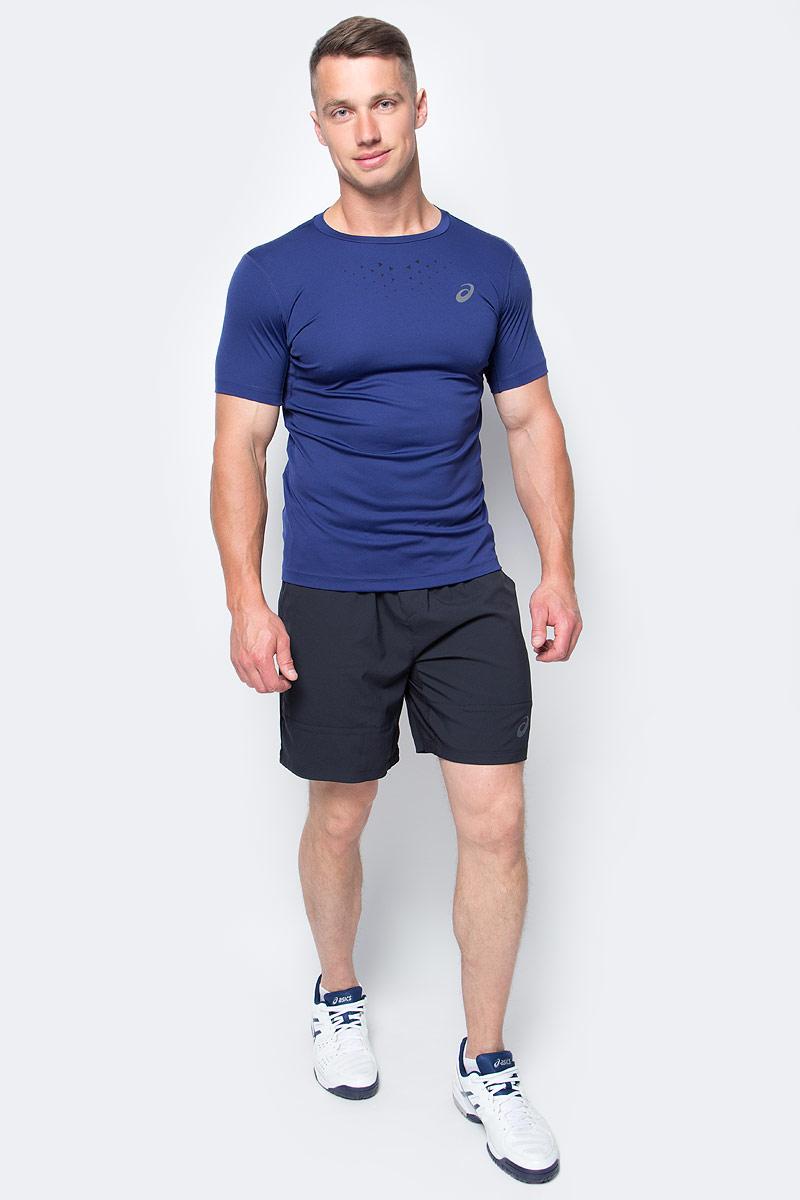 Футболка для бега мужская Asics Stride SS Top, цвет: темно-синий. 141198-8052. Размер XL (52/54)141198-8052Мужская футболка Asics выполнена из эластичного полиэстера.У модели классический круглый ворот и короткие стандартные рукава. Изделие оформлено дышащими вставками и дополнено светоотражающими деталями. Технология Motion Dry позволяет выводить влагу, оставляя тело сухим и сохраняя его оптимальный температурный режим.