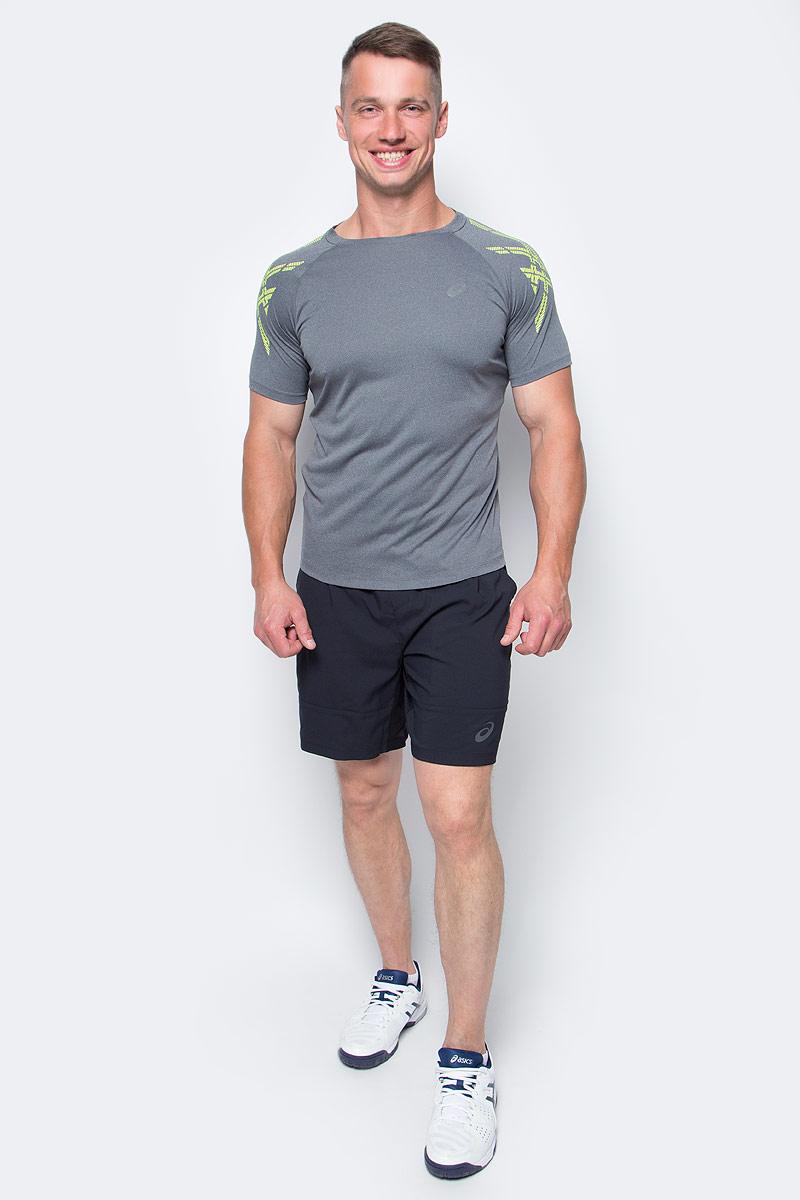 Футболка для бега мужская Asics Asics Stripe SS Top, цвет: серый. 141199-0773. Размер L (50/52)141199-0773Мужская футболка для бега Asics Asics Stripe SS Top выполнена из 100% полиэстера. Модель с круглым вырезом горловины и короткими рукавами.