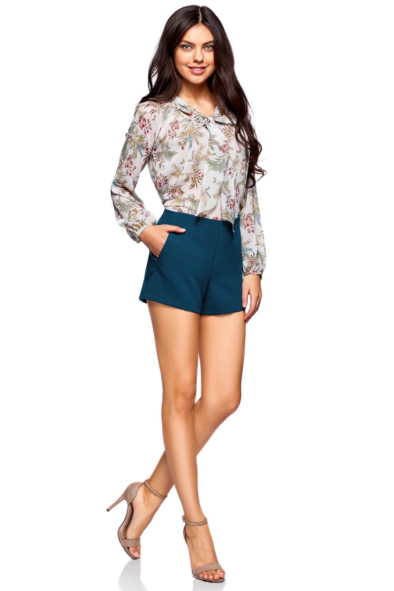 Шорты женские oodji Ultra, цвет: темно-синий. 11801115/46743/7900N. Размер 42-170 (48-170) пуловеры oodji пуловер