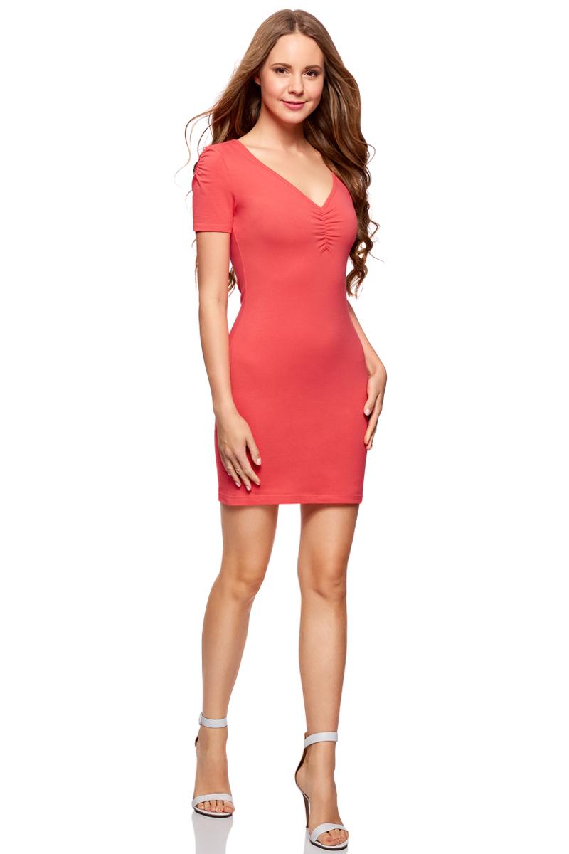 Платье oodji Ultra, цвет: ярко-розовый. 14001082B/47490/4D00N. Размер L (48)14001082B/47490/4D00NОблегающее платье oodji Ultra выполнено из качественного трикотажа. Модель мини-длины с V-образным вырезом горловиныи короткими рукавамивыгодно подчеркивает достоинства фигуры.