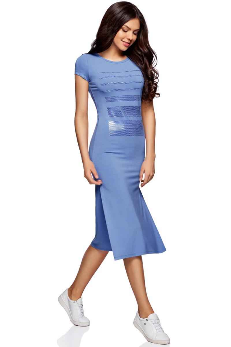 Платье oodji Ultra, цвет: синий, серебряный. 14001178/42626/7591P. Размер L (48)14001178/42626/7591PТрикотажное платье oodji изготовлено из качественного смесового материала. Облегающая модель выполнена с короткими рукавами и круглым вырезом. Спереди платье декорировано серебристой аппликацией из отдельных элементов, по бокам имеются разрезы.