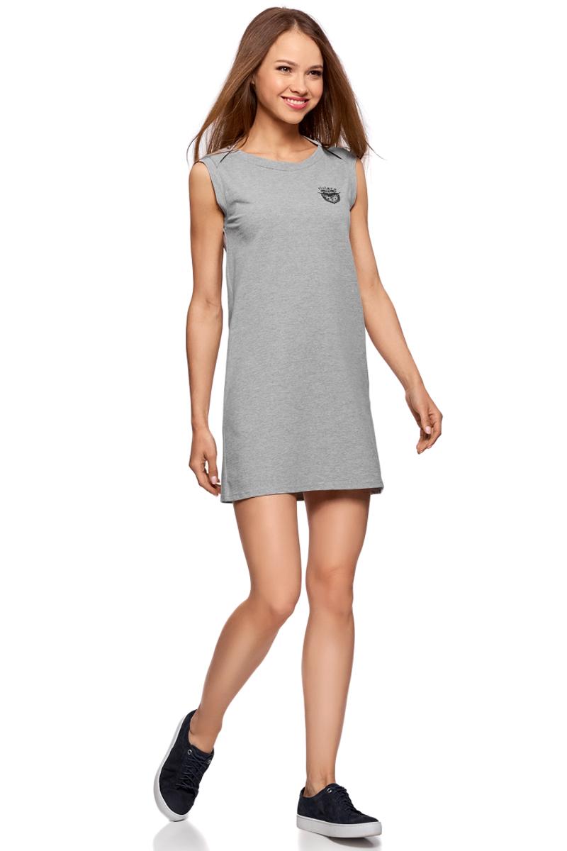 Платье oodji Ultra, цвет: серый меланж. 14005074-4/46149/2300M. Размер S (44)14005074-4/46149/2300MТрикотажное платье oodji изготовлено из качественного материала. Модель прямого силуэта выполнена с круглым вырезом горловины и без рукавов.