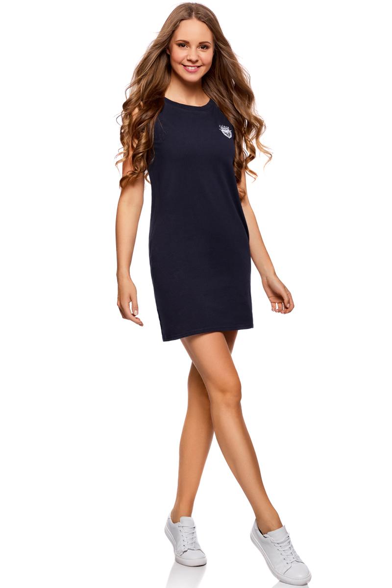 Платье oodji Ultra, цвет: темно-синий. 14005074-4/46149/7900N. Размер XXS (40)14005074-4/46149/7900NТрикотажное платье oodji изготовлено из качественного материала. Модель прямого силуэта выполнена с круглым вырезом горловины и без рукавов.