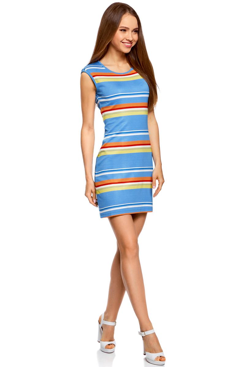 Платье oodji Ultra, цвет: синий, оранжевый. 14008014-2/46898/7555S. Размер M (46)14008014-2/46898/7555SТрикотажное облегающее платье oodji изготовлено из качественного смесового материала. Модель-мини выполнена без рукавов и с круглым вырезом.
