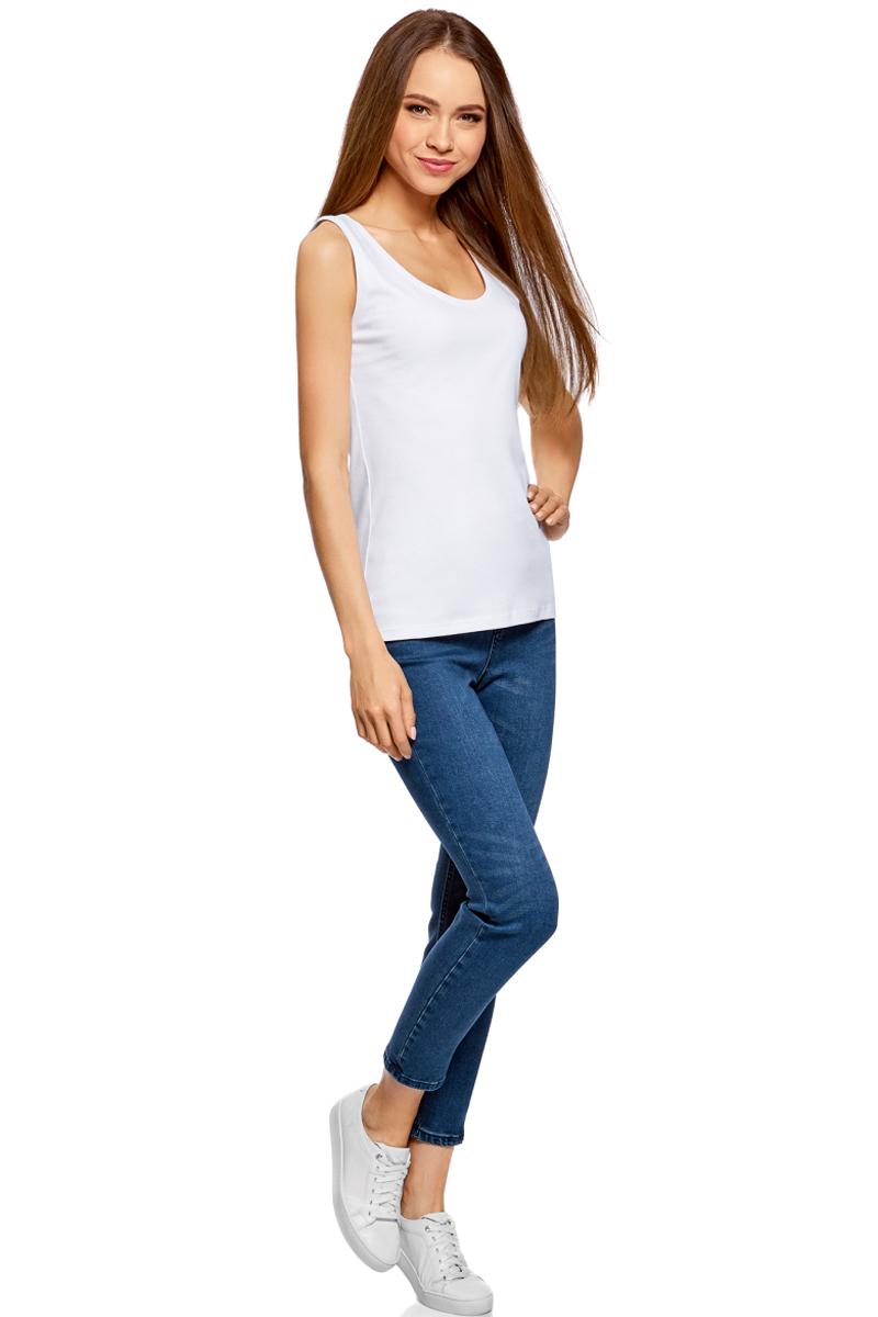 Майка женская oodji Ultra, цвет: белый. 14305031B/46908/1000N. Размер M (46)14305031B/46908/1000NМайка oodji изготовлена из качественного хлопка. Трикотажная модель выполнена без рукавов и с круглым глубоким вырезом.