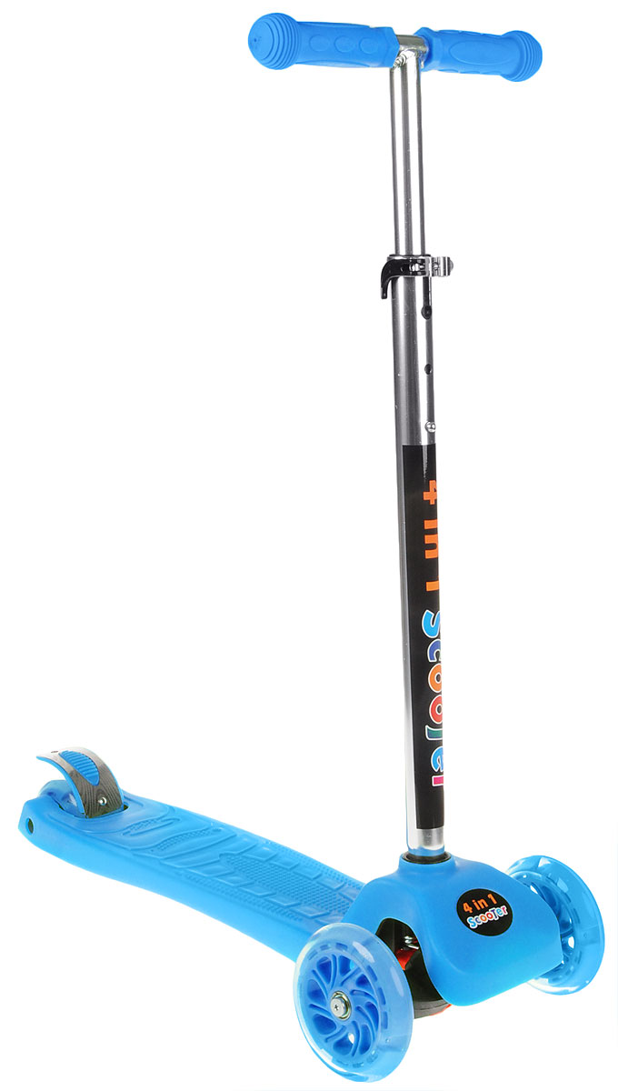 Самокат трехколесный Veld-Co, со светящимися колесами, цвет: синий, черный51641_синийЯркий детский самокат Veld-Co станет отличным подарком ребенку! Он оснащен простой в использовании системой торможения с помощью заднего колеса (достаточно наступить на педаль тормоза, расположенную над задним колесом). Дека рельефная, что обеспечивает устойчивость на самокате. Колеса оснащены светодиодами, загорающимися при езде. Руль имеет 3 положения. Заднее колесо двойное.Изделие можно использовать как классический самокат, но также его конструкция позволяет прикрепить сиденье, чтобы вы могли катать своего ребенка.Благодаря прочным материалам самокат прослужит ребенку несколько лет, а его компактный размер позволит брать его с собой куда угодно. Самокат быстро и легко складывается и не требует особых мест для хранения.В комплект входит инструмент, сочетающий в себе шестигранник и крестовую отвертку.Максимальная нагрузка: 50 кг.Максимальная нагрузка на сиденье: 20 кг.Высота руля: 62,5-77,5 см.
