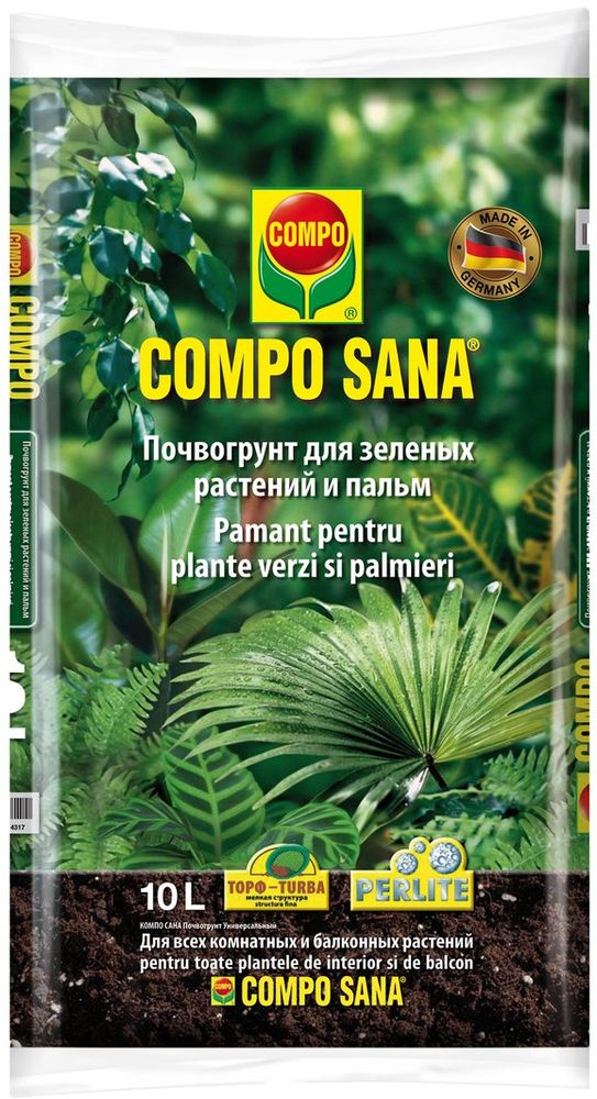 Почвогрунт Compo Sana, для зеленых растений и пальм, 10 л1143108066Почвогрунт Compo Sana предназначен для зеленых растений и пальм. Повогрунт состоит из торфа, содержит все важные питательные вещества и добавки для растений.Подходит для всех комнатных и балконных растений.