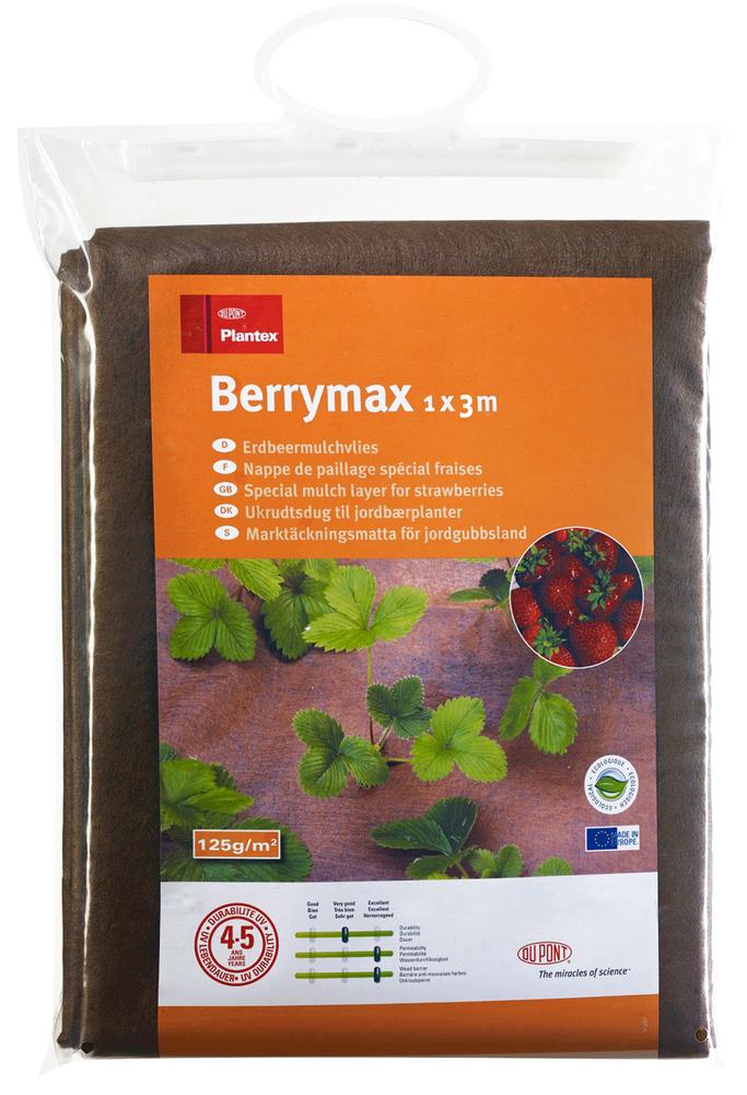 Мембрана Plantex Berrymax, для клубники, 1 x 3 м466206Мембрана Plantex Berrymax предназнаяена для клубники. Изделие выполнено из100% полипропилена, скрепленного по уникальной технологии. Материал не гниет, дышит и очень долговечен. Преимущества: Блокирует рост даже агрессивных сорняков; Усы не приживаются. В результате растение понимает, что миграция невозможна и сосредотачивается на созревании плодов; Идеально пропускает воду и удобрения; Дышит (не создает парникового эффекта, корни не «горят»); Длительный срок службы (без дополнительного укрытия 4-5 лет. При дополнительном укрытии слоем мульчи срок службы до 25 лет. Не нужно убирать на зиму); Удерживает дополнительное тепло в почве (положительно влияет на скорость созревания плодов); Плоды не гниют (предотвращает контакт ягод с почвой, в результате чего плоды не гниют); Эстетика применения (цвет земли гармонично вписывается в пейзаж любого участка); Отсутствует парусность (легко стелется и «прилипает» к земле).