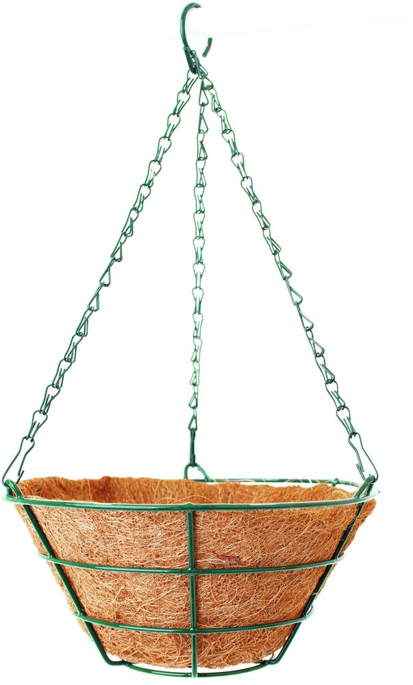"""Подвесное кашпо """"Garden Show"""" предназначено для размещения декоративных растений как снаружи, так и внутри помещения. Кашпо выполнено из металла в форме усеченного конуса. Подвешивается с помощью трех цепочек, объединенных удобным крючком. Наличие кокосового наполнителя не требует использования цветочного горшка. Кокосовое волокно способствует сохранению в почве питательных веществ и сохранению комфортного для растений уровня влажности."""