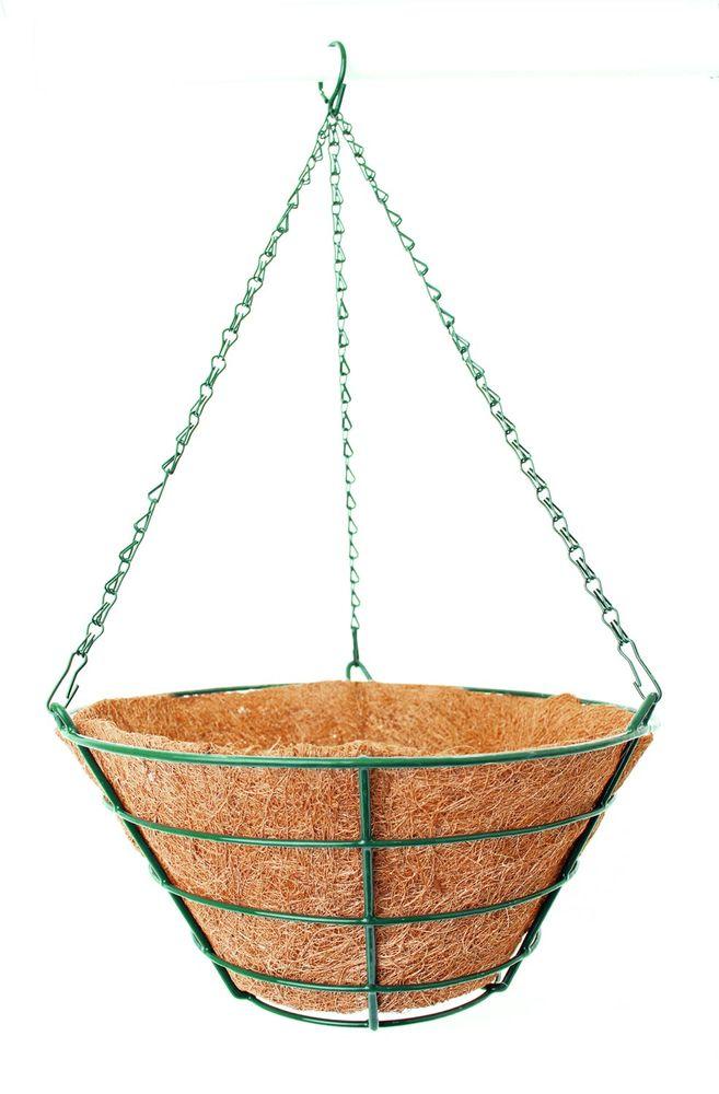Кашпо подвесное Garden Show Усеченный конус, с вкладышем из коковиты, диаметр 35 см466509Подвесное кашпо Garden Show предназначено для размещения декоративных растений как снаружи, так и внутри помещения. Кашпо выполнено из металла в форме усеченного конуса. Подвешивается с помощью трех цепочек, объединенных удобным крючком. Наличие кокосового наполнителя не требует использования цветочного горшка. Кокосовое волокно способствует сохранению в почве питательных веществ и сохранению комфортного для растений уровня влажности.