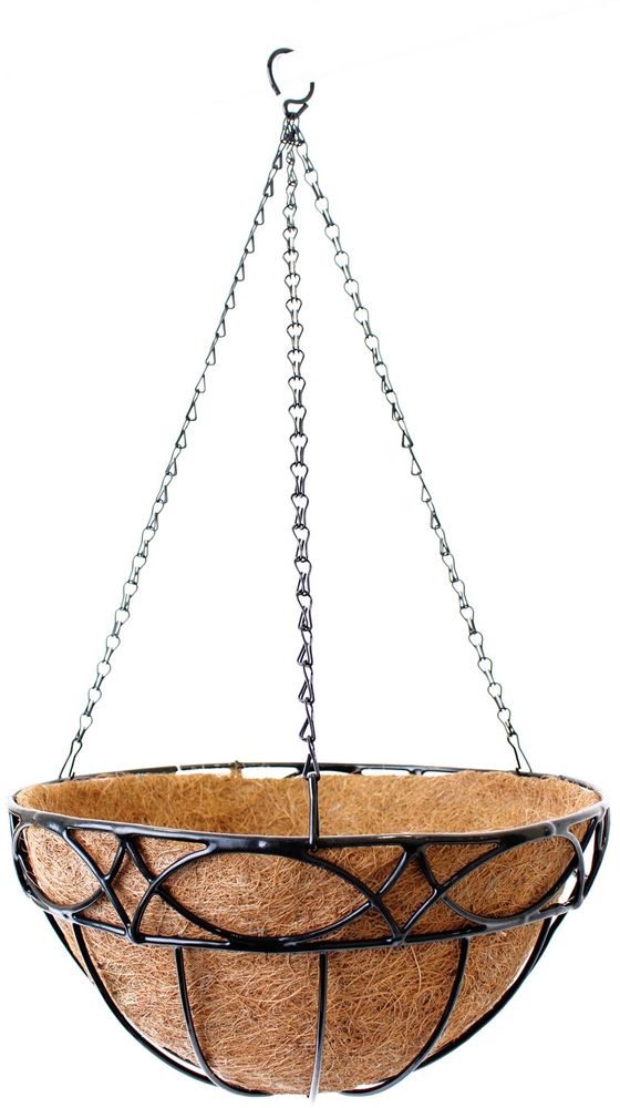 Кашпо подвесное Garden Show Сфера, с вкладышем из коковиты, диаметр 35 см. 466517466517Подвесное кашпо Garden Show предназначено для размещения декоративных растений как снаружи, так и внутри помещения. Резное кашпо выполнено из металла в форме полусферы. Подвешивается с помощью трех цепочек, объединенных удобным крючком. Наличие кокосового наполнителя не требует использования цветочного горшка. Кокосовое волокно способствует сохранению в почве питательных веществ и сохранению комфортного для растений уровня влажности.